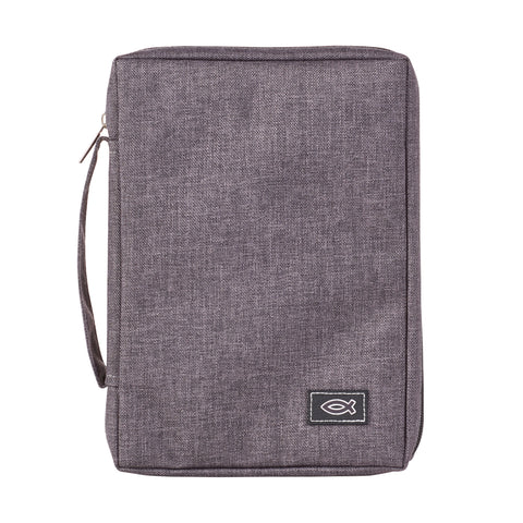 With Fish Badge Grey (Polyester Bible Bag)