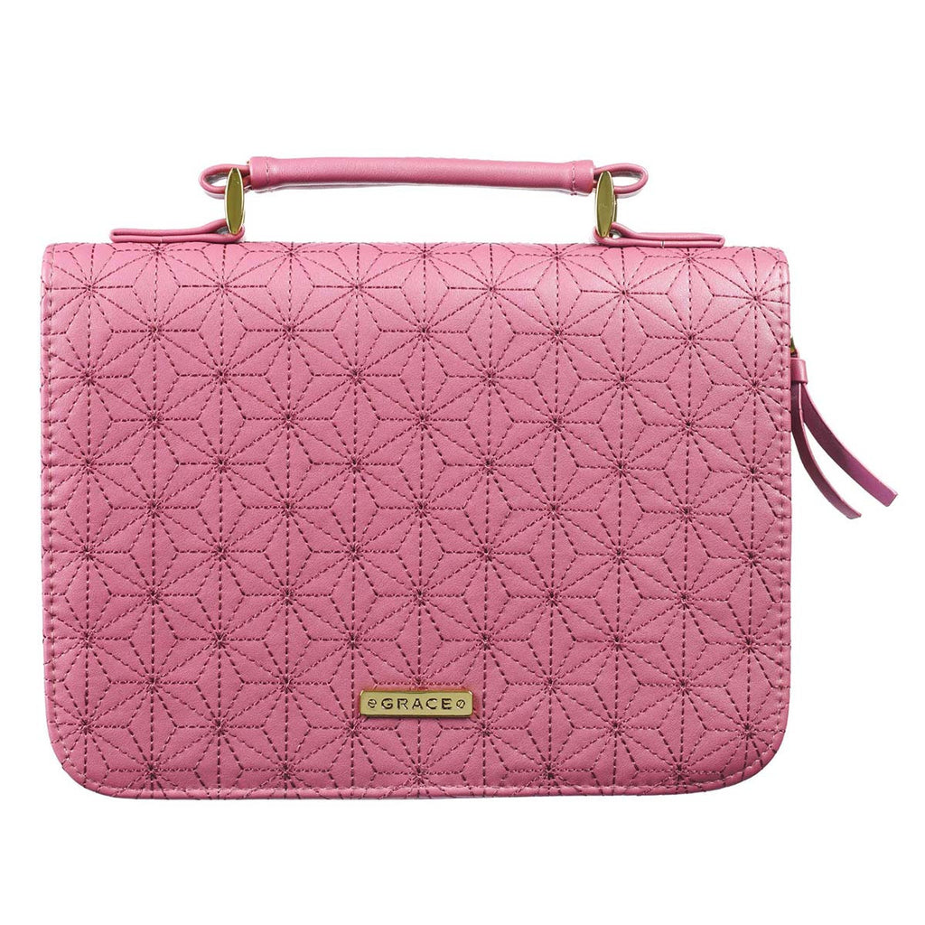 With Grace Badge Pink (Faux Leather / Micro-Fibre Bible Bag)