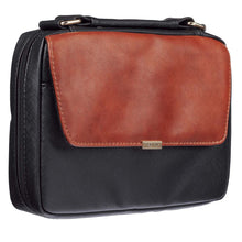 Load image into Gallery viewer, With Faith Badge Black / Tan (LuxLeather / Micro-Fibre Bible Bag)