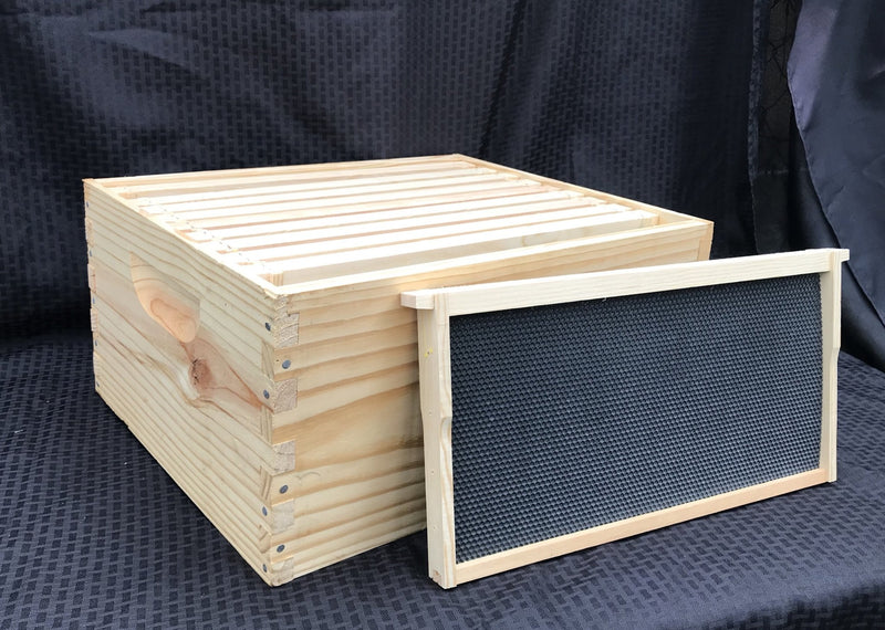 "10 Frame - 9 5/8"" Hive Body W/ Frames and Foundation (Complete) - Bee Friends Farm"