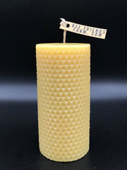 Pillar Hexagon Patterned Beeswax Candle - Bee Friends Farm