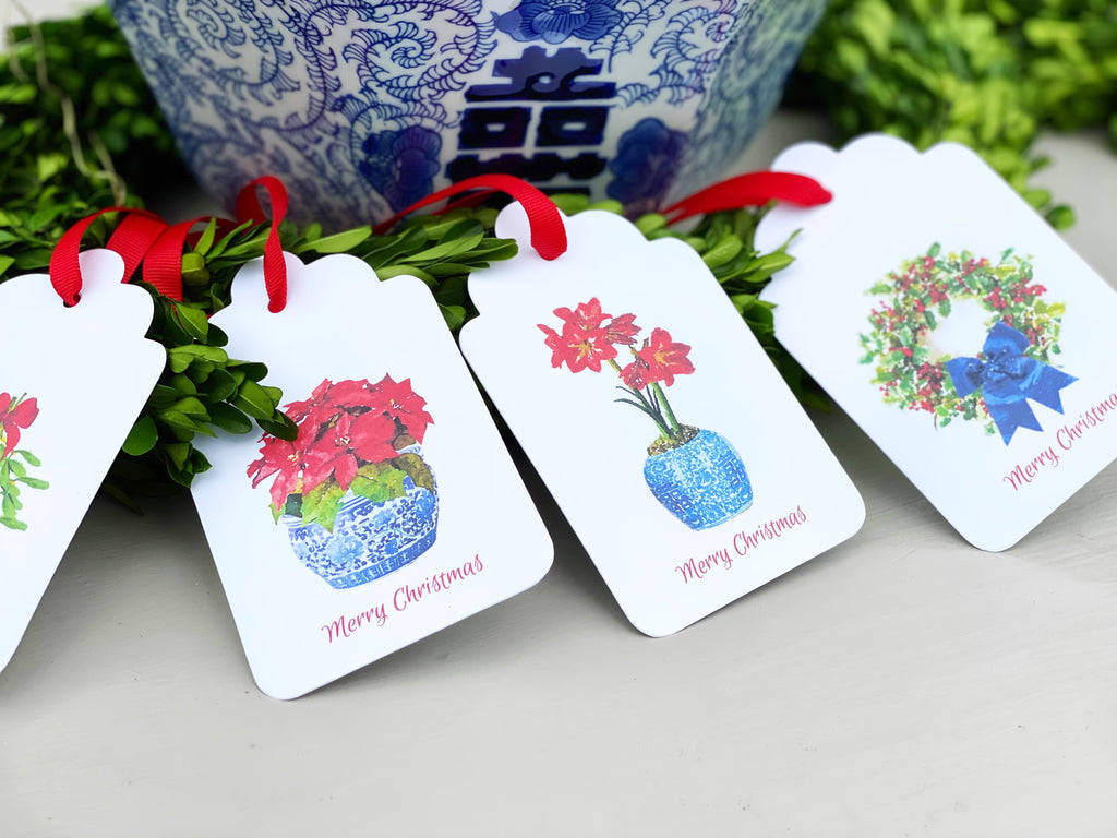 Botanical Christmas Gift Tags, Set of 10