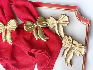 Gold Bow Napkin Rings, Set of 4