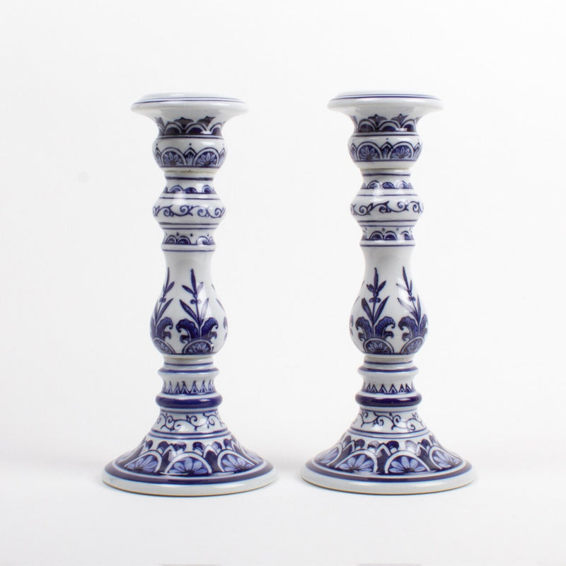 Blue & White Candlesticks, Small or Large, Set of 2