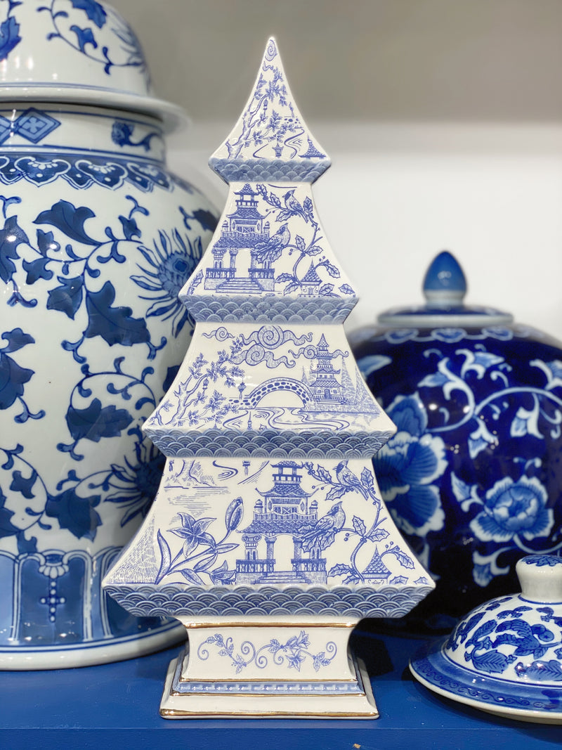 Blue & White Chinoiserie Christmas Trees