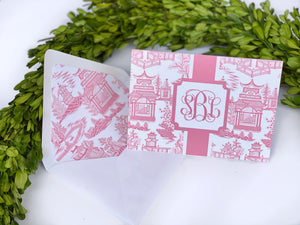 Pink Chinoiserie Fold-Over Stationery