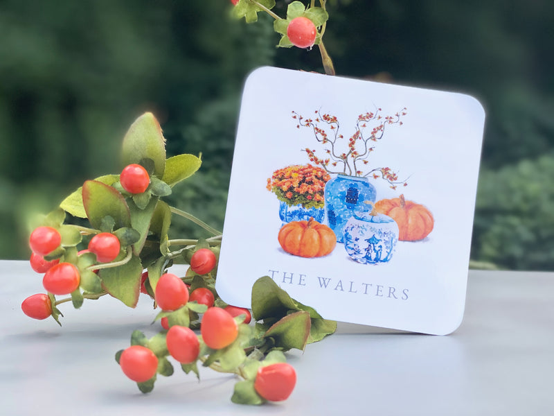 Chinoiserie Pumpkin Cork Coasters