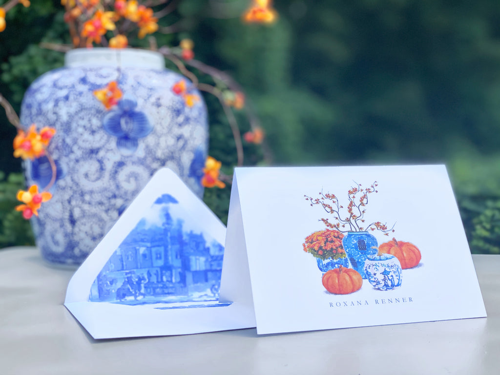 Chinoiserie Pumpkin Fold-Over Stationery