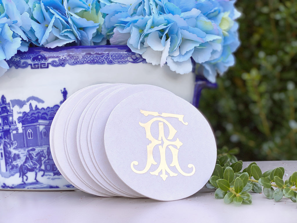 Monogram Foil Stamped Coasters