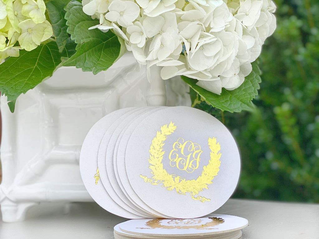 Savannah Wreath Monogram Foil Stamped Coasters