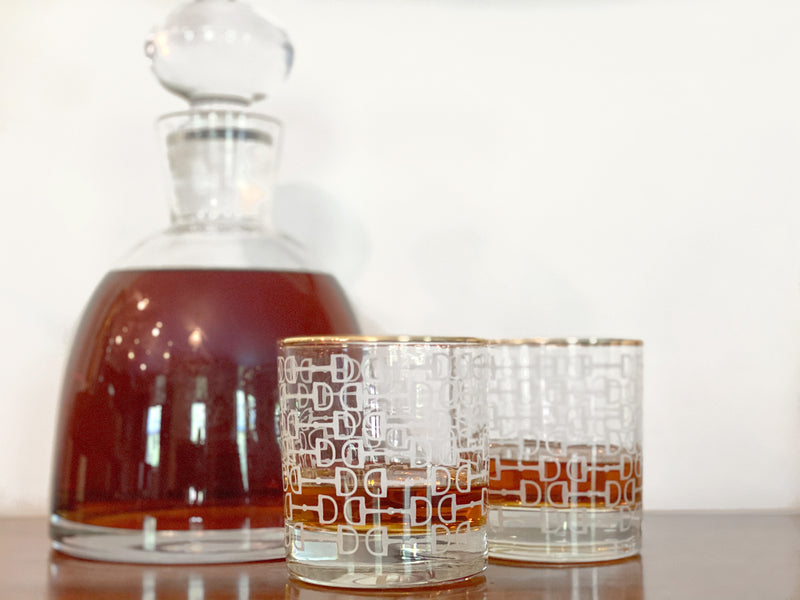 Equestrian Frosted Gold Rim Bourbon Glasses