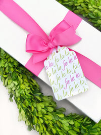 Pink & Green Fa La La Gift Tags, Set of 10