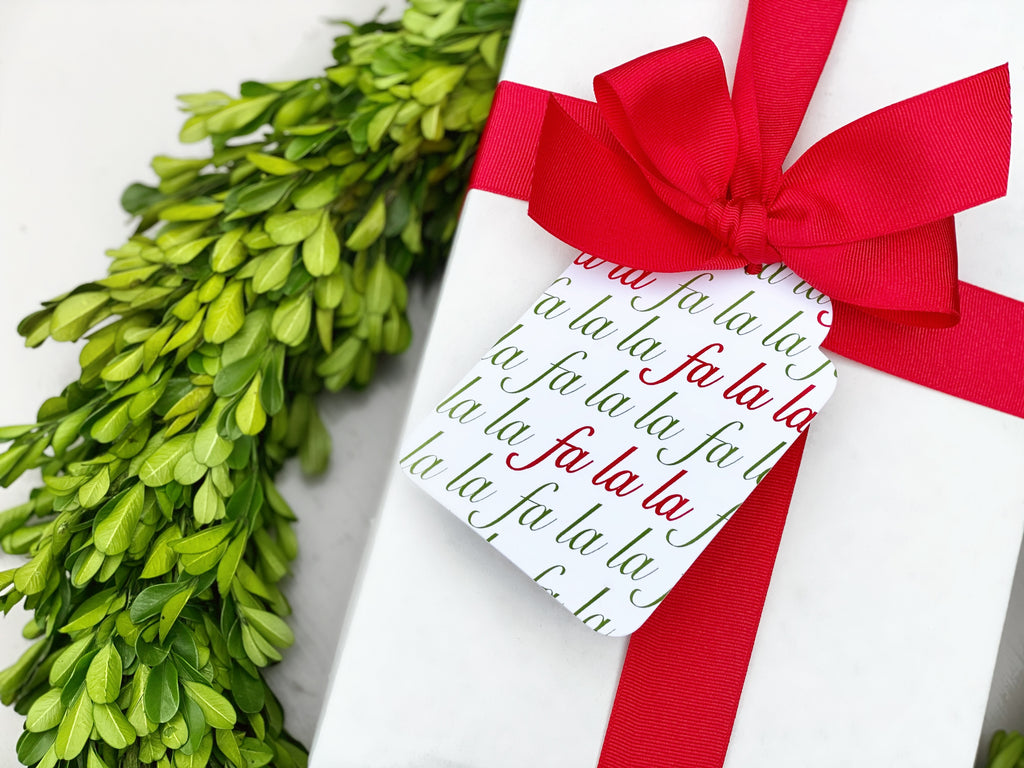 Red & Green Fa La La Gift Tags, Set of 10