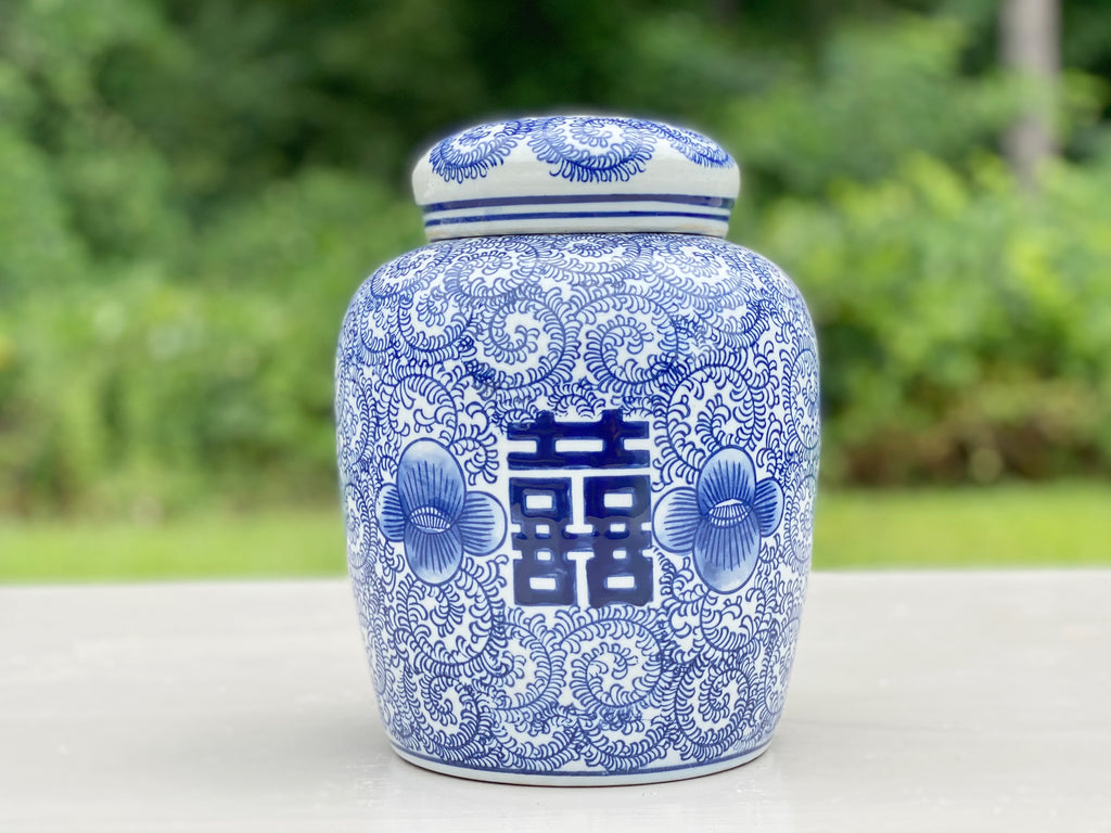 Floral Double Happiness Ginger Jar