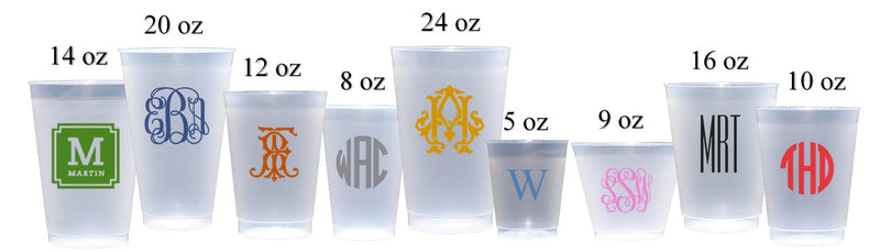 Ornate Script Frosted Cups, 9oz-24oz