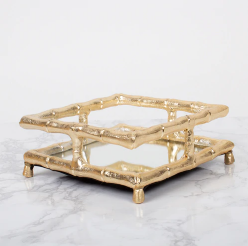 Gold Bamboo Cocktail Napkin Tray