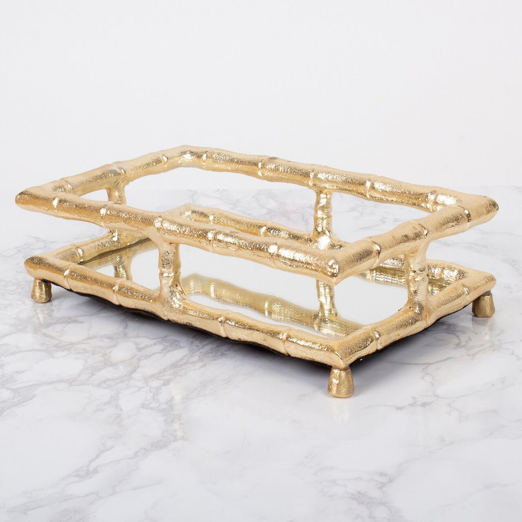 Gold Bamboo Guest Towel Napkin Tray