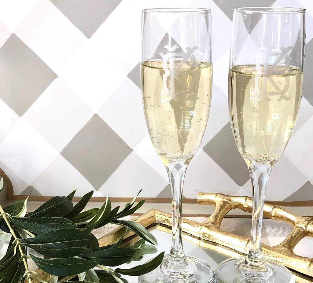 Champagne Flutes Engraved, Set of 4