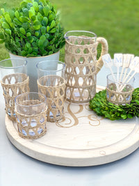 Lattice Double Old Fashion or High Ball Glasses