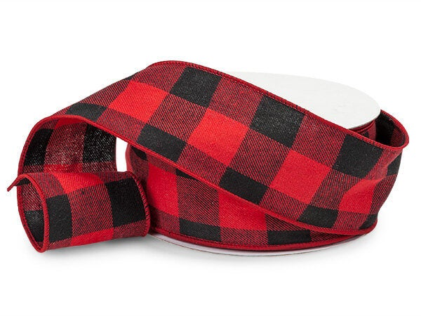 Red & Black Buffalo Check Wired Ribbon