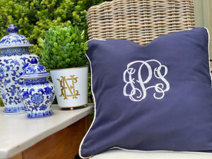 Navy Monogrammed Pillow, 20x20