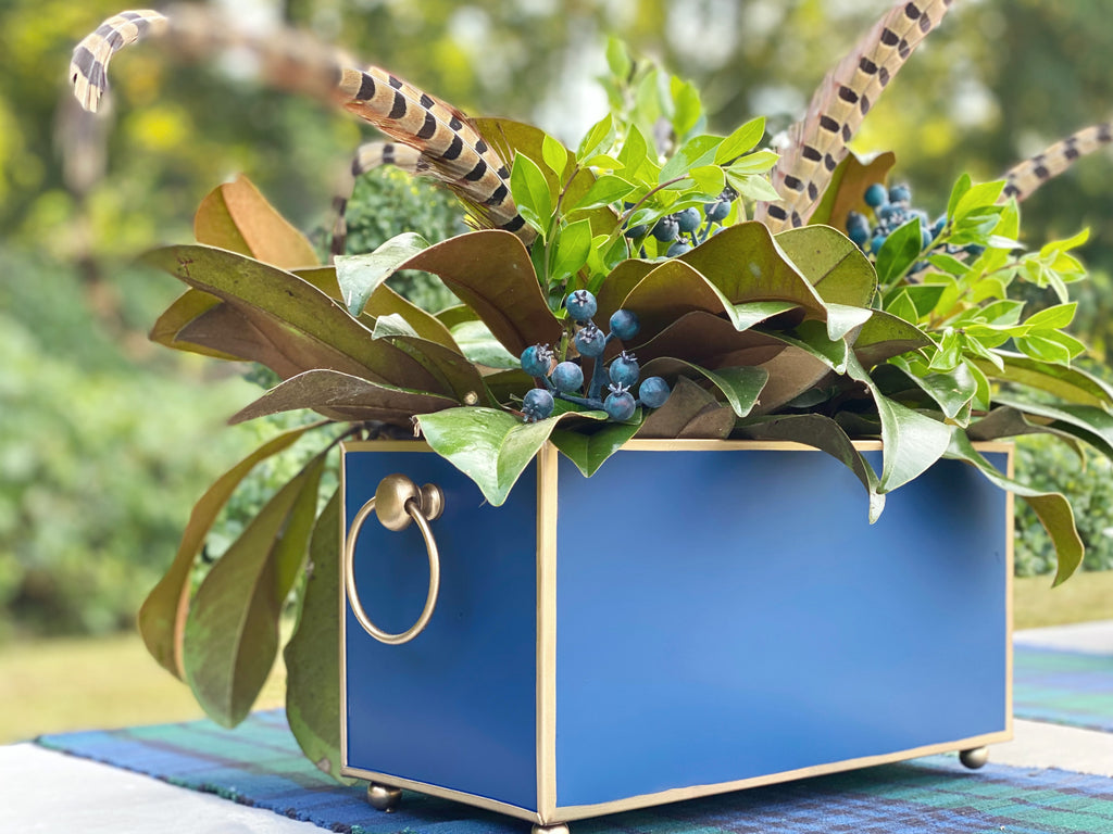 Navy & Gold Rectangular Cachepot