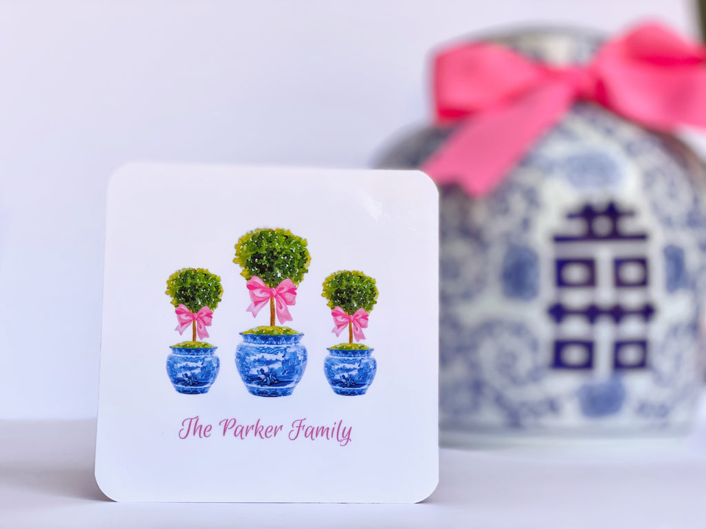 Pink Boxwood Topiary Cork Coasters