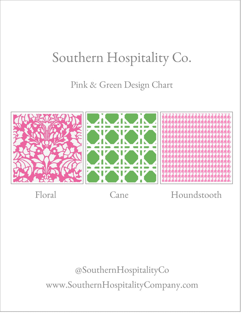 Pink & Green Fold-Over Stationery