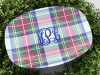 Royal Plaid Melamine Platter