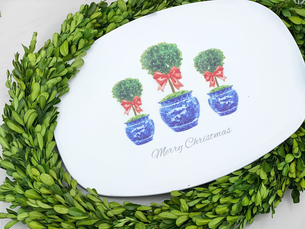 Red Boxwood Topiary Melamine Platter
