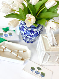 White Ceramic Bamboo Desk Tray