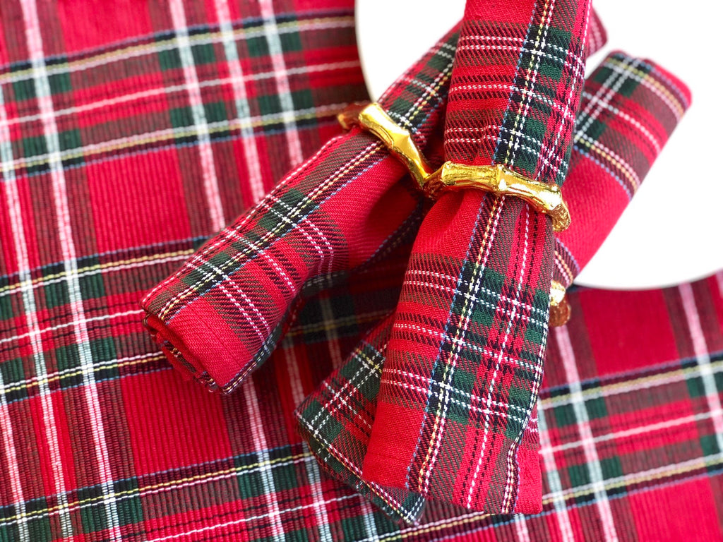 Red Holiday Plaid Napkins or Runners