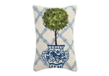 Topiary Ball Hooked Pillow
