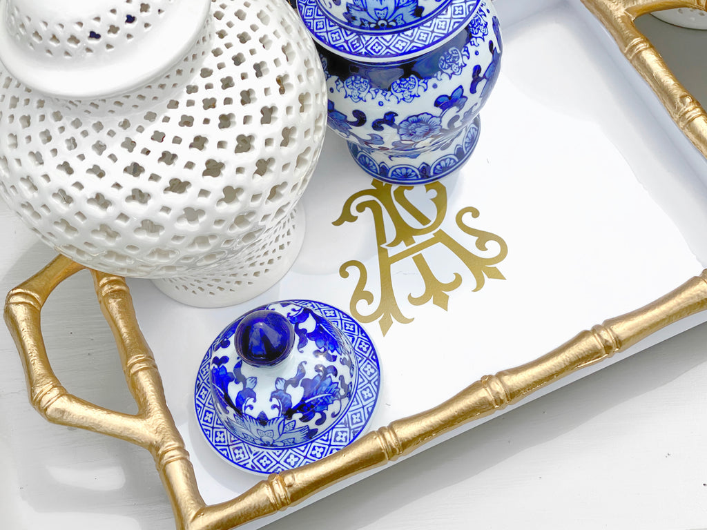 White & Gold Bamboo Handled Tray
