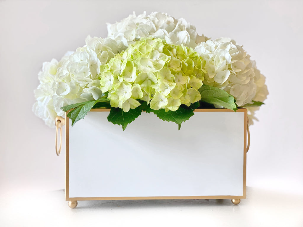 White & Gold Rectangular Cachepot