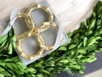Gold Bamboo Napkin Rings, Set of 4