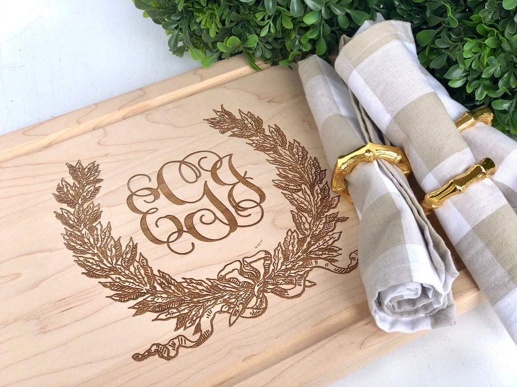 Savannah Wreath Wood Cutting Board