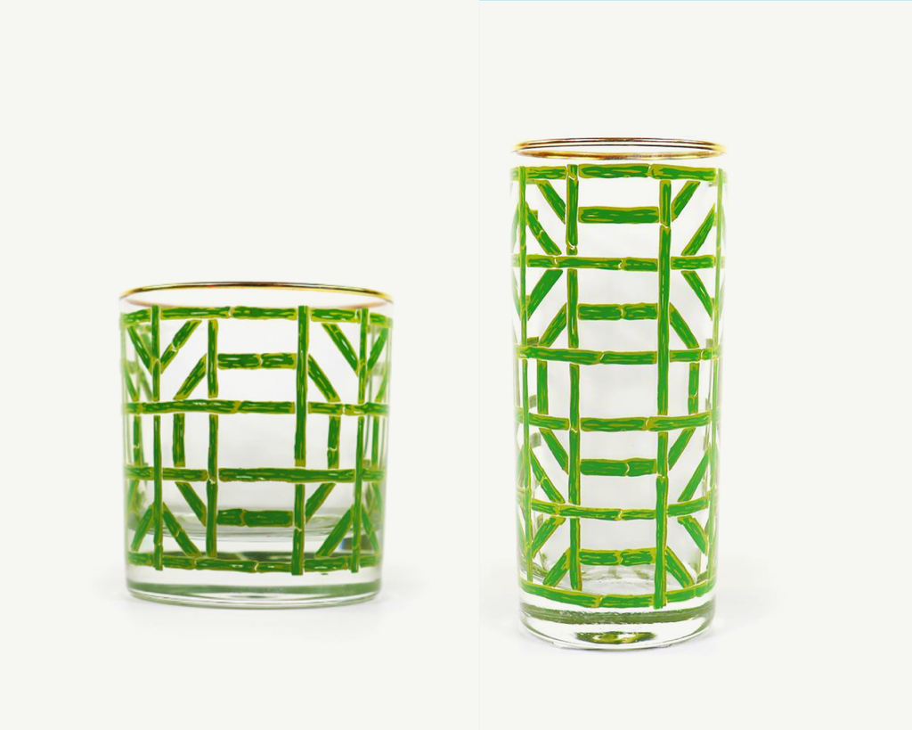Green Bamboo Double Old Fashion or High Ball Glasses
