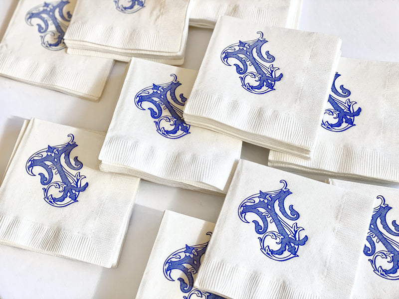 Ornate Script Cocktail Napkins