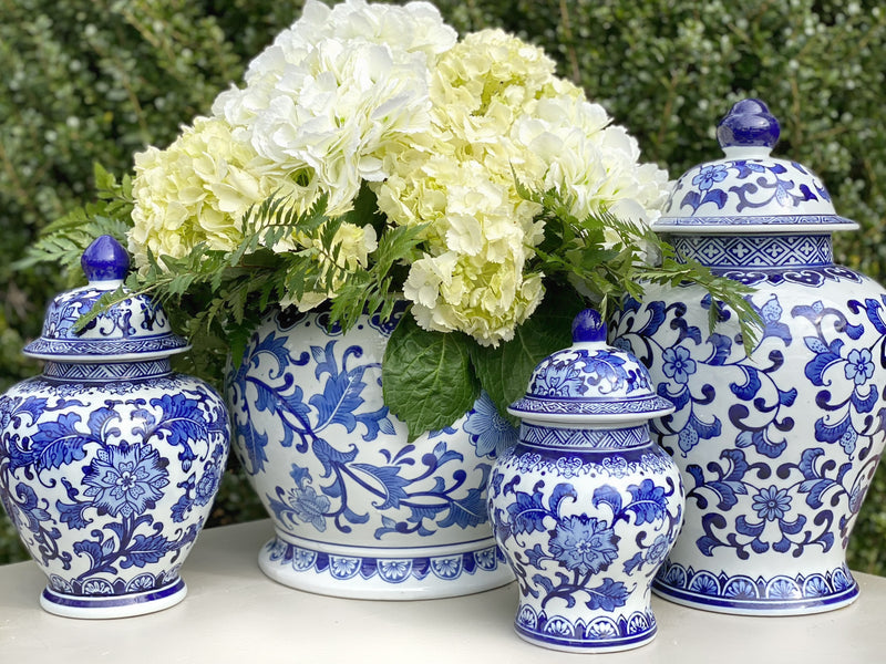 Large Wide Blue & White Ceramic Ginger Jar