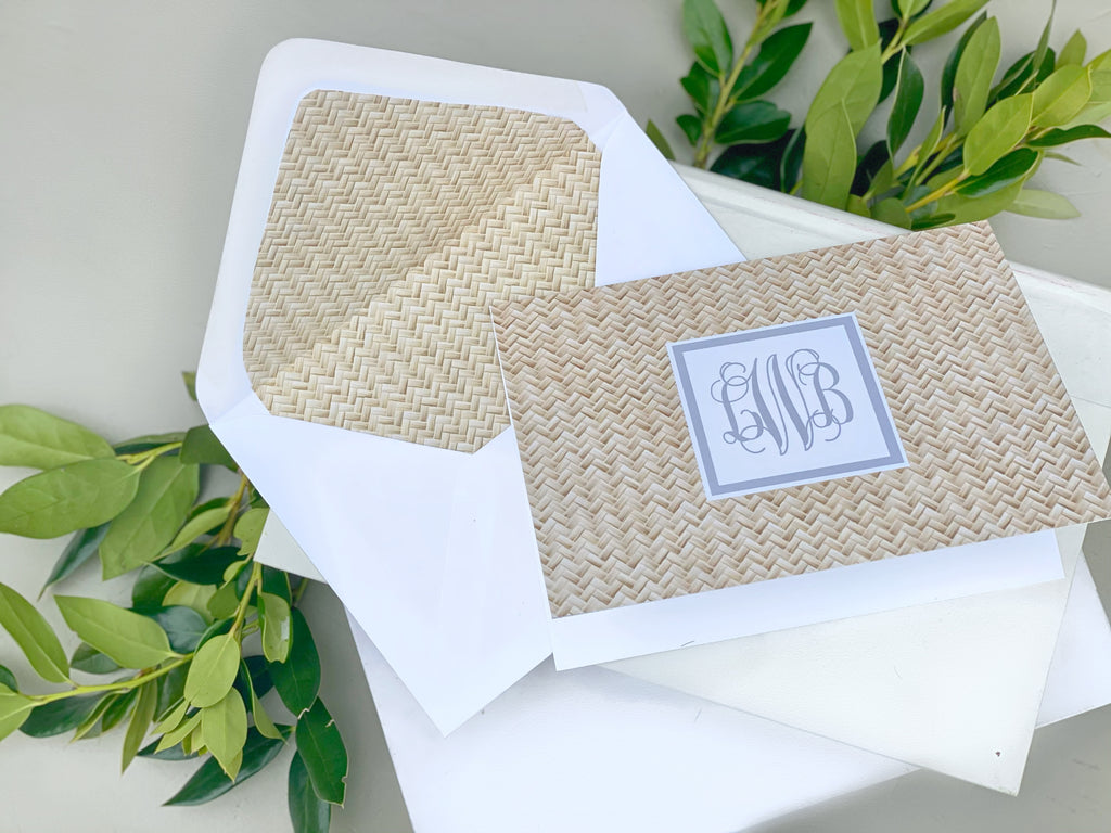 Rattan Fold-Over Stationery