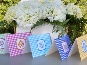 Gingham Monogram Fold-Over Stationery
