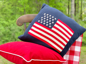 American Flag Navy Pillow