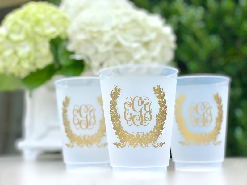 Savannah Wreath Frosted Monogrammed Cups, 9oz-24oz