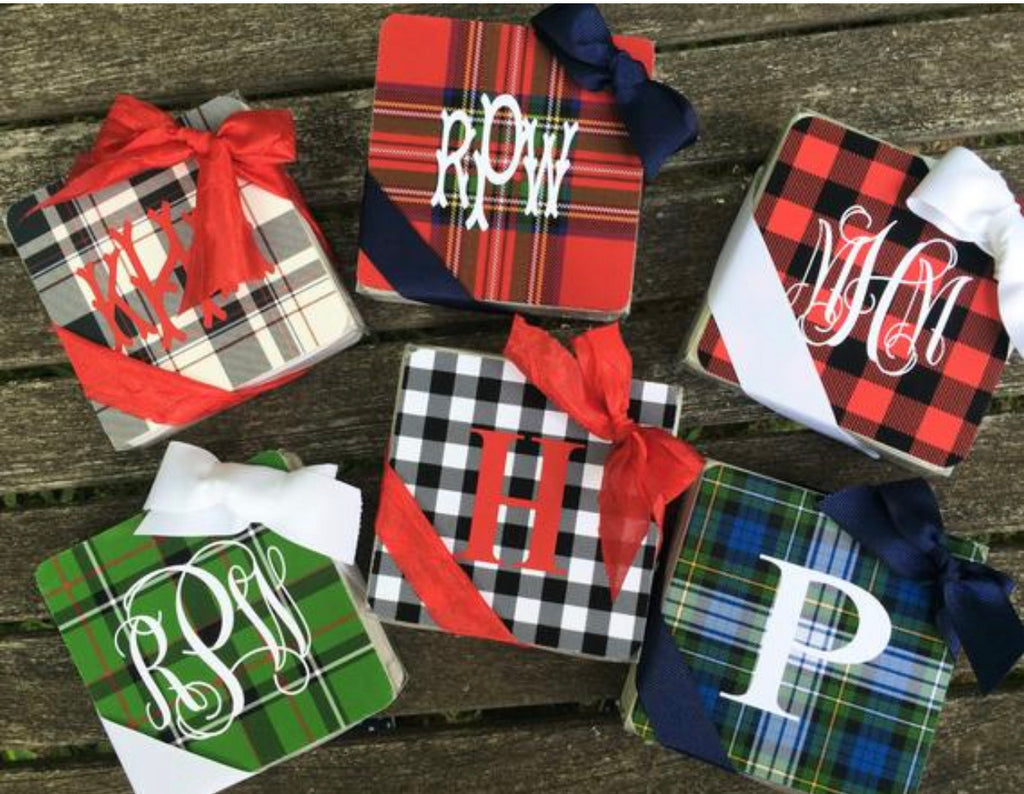 Plaid Cork Coasters