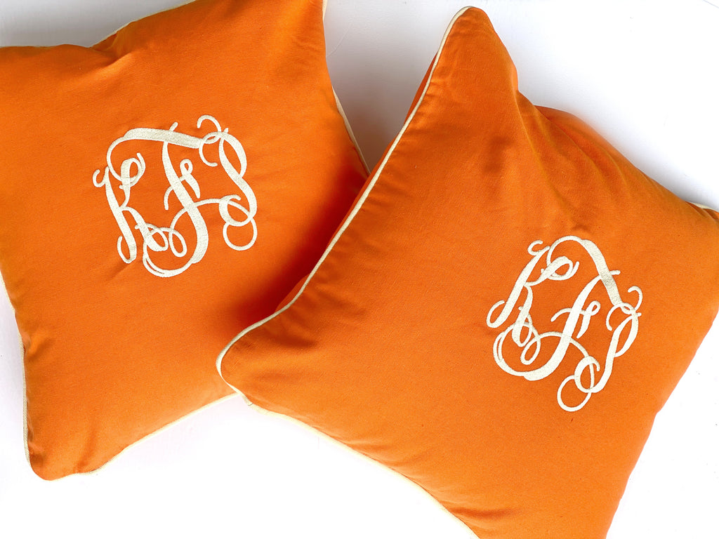 Orange Monogrammed Pillow, 20x20