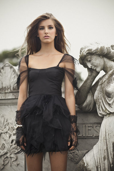 Haunted Allure in Black Dress