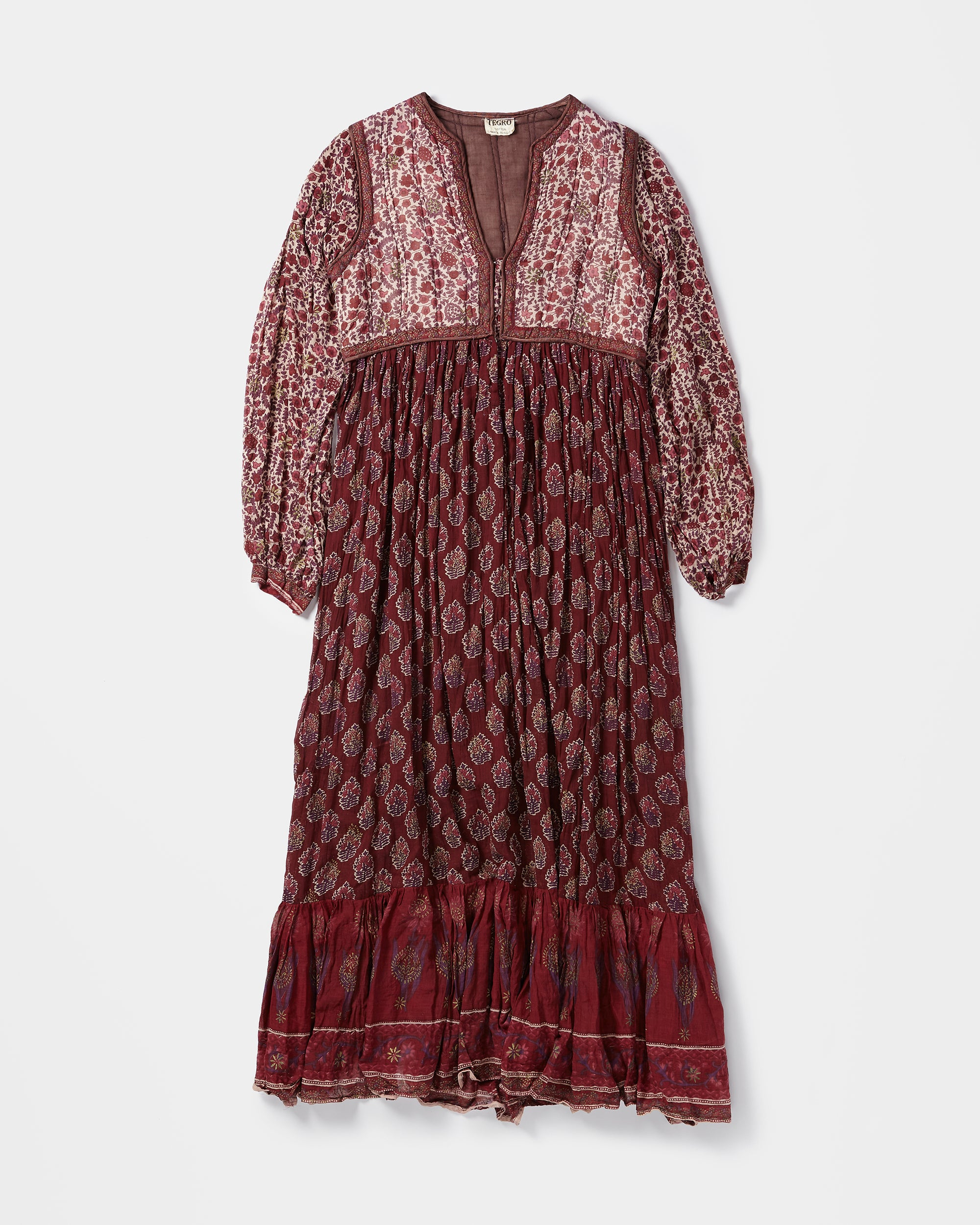 Quilted Top Indian Cotton Ethnic Long Dress