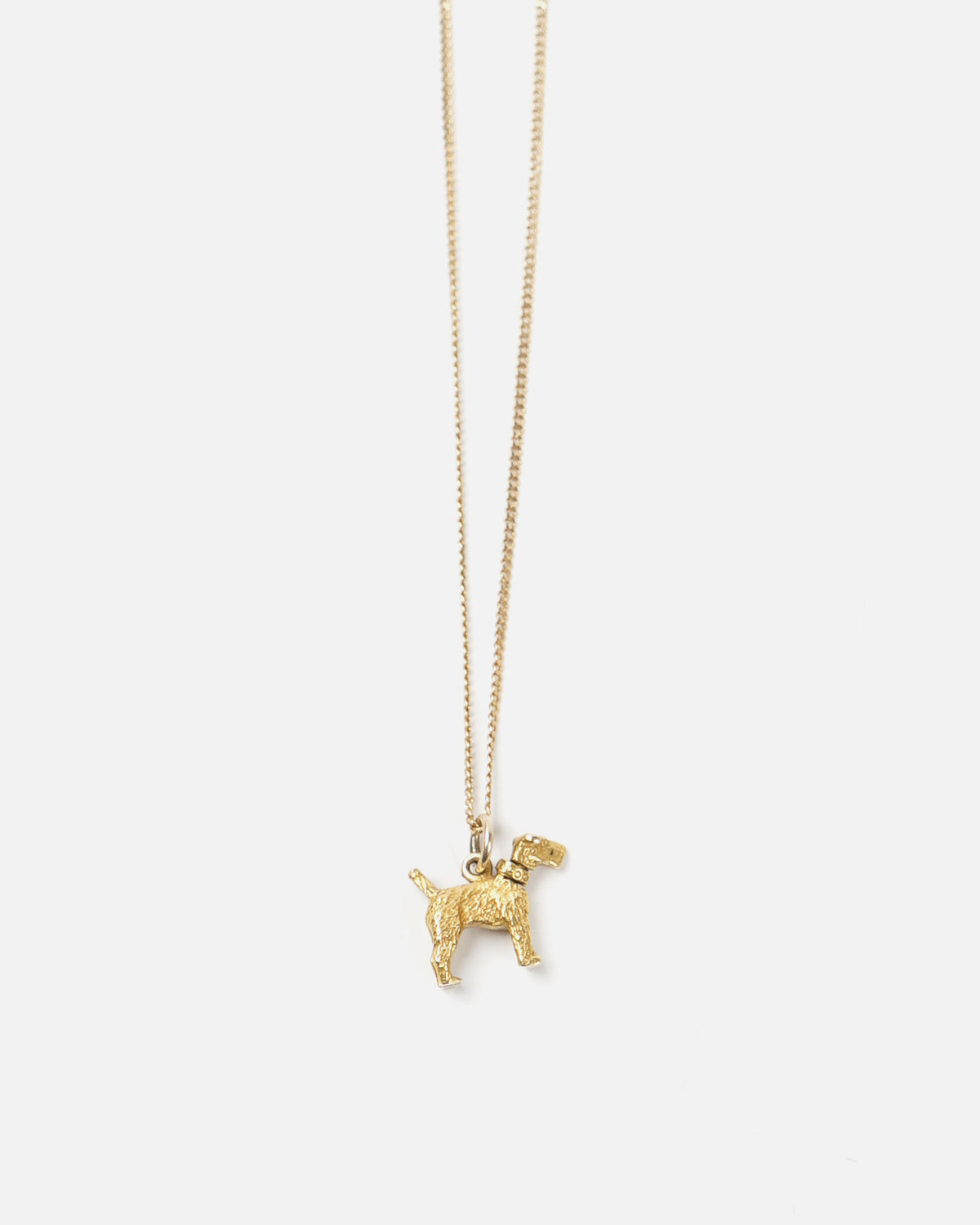 14k Gold Dog Charm Necklace