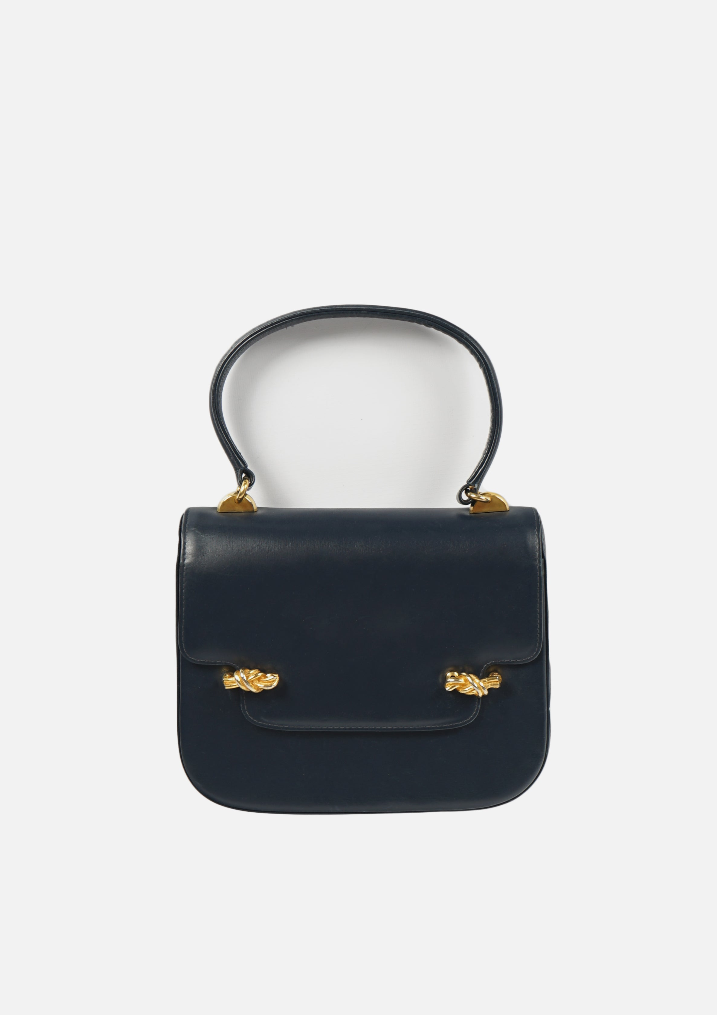 Dark Navy Leather Hand Bag
